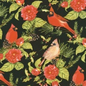 Christmas in the Wildwood - Flowers and Cardinals Black Yardage
