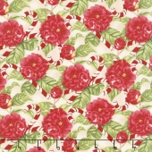 Christmas in the Wildwood - Flowers and Candy Canes Tan Yardage