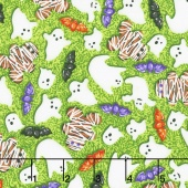 Spooky Snacks - Creepy Confections Electric Green Yardage