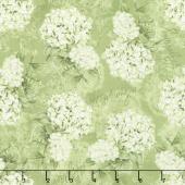 Hydrangea Dreams - Tossed Hydrangeas Green Yardage