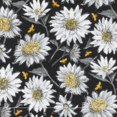 A Bee's Life - Daisy Allover Black Yardage