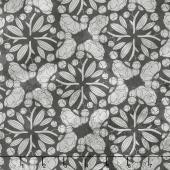 Blushing Peonies - Pinwheels Charcoal Yardage