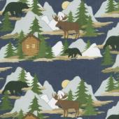 Designer Flannel - Cabin Fever Scene In Color Yardage