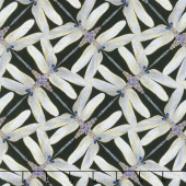Dragonfly Dance - Purple Pinwheel Geometric Black Gray Metallic Yardage