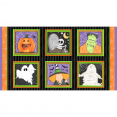 A Haunting We Will Glow - Halloween Blocks Black Orange Glow in the Dark Panel
