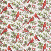 The Scarlet Feather - Cardinal Allover White Yardage