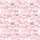 Purrfect Day - Text Pink Yardage