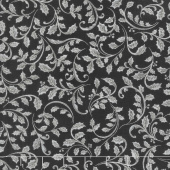 Winter's Grandeur 7 - Scarlet Leaves Ebony Metallic Yardage