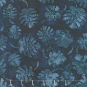 Coastal Getaway Batiks - Leaves Indigo Yardage