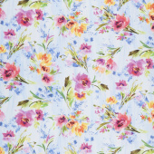 Blossom - Water Color Allover Flowers Sky Digitally Printed Yardage