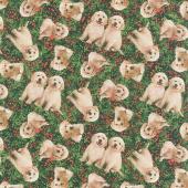 Santa's Helpers - Puppies Berries Digitally Printed Yardage