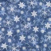 Welcome Winter - Snowflakes Dark Blue Yardage