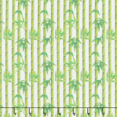 Panda Sanctuary - Bamboo Tree White Digitally Printed Yardage