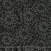 Black Beauty Batiks - Flower Black and Gray Yardage