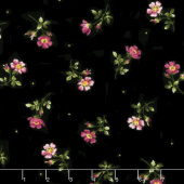 Wild Rose - Single Flowers Black Flannel Yardage