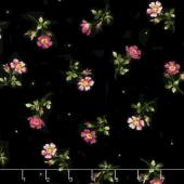 Wild Rose - Single Flowers Black Flannel Yardage
