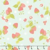 Strawberry Jam - Strawberry Polka Dot Droplet Yardage