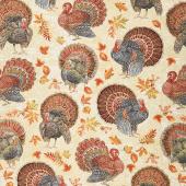 Gather Here - Harvest Turkeys Multi Metallic Yardage
