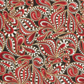 Cat-I-Tude Christmas - Paisley Swirl Red Metallic Yardage