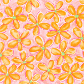 Whimsy Daisical - Large Daisy Orange Yardage