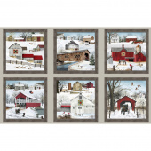Country - Headin' Home Winter Barn Blocks Sepia Panel