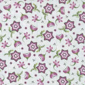 Amour - Stylized Floral Gray Yardage