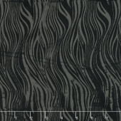 Black Beauty Batiks - Wavy Lines Black and Gray Yardage
