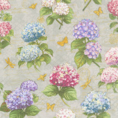 Hydrangea Dreams - Large Allover Gray Yardage