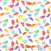 Rain or Shine - Umbrellas White Multi Yardage