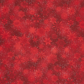 Winter's Grandeur 7 - Scarlet Snowflakes Metallic Yardage
