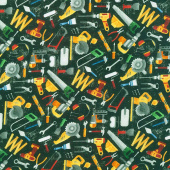 Construction Zone - Tossed Tools Black Multi Digitally Printed Yardage