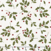 Most Wonderful Time Flannel - Holly Cream Yardage