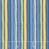 Garden Charm - Stripe Blue Yardage