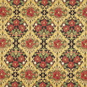 Holiday Flourish 12 - Poinsettia Black Metallic Yardage
