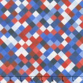 "Hopscotch - Squares Patriotic Digitally Printed 108"" Wide Backing"