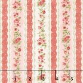 Vintage Rose - Floral Stripe Pink Yardage