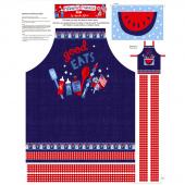 Patriotic Parade - Apron Blue Red Panel