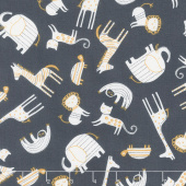 Wild About You - Tossed Animals Charcoal Yardage