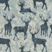 Snowberry Batiks - Deer Grouping Grape Juice Yardage