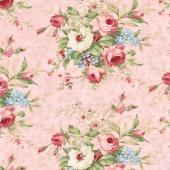 Vintage Rose - Floral Bouquet Pink Yardage