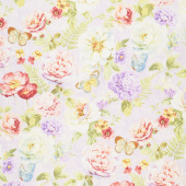 Butterfly Haven - Large Floral Purple Yardage