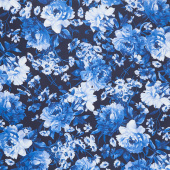 Silver Jubilee - Main Floral Navy Yardage