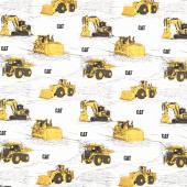 CAT - Trucks Main White Yardage