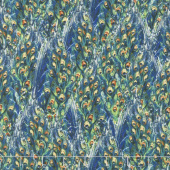 Plumage - Tail Texture Blue Yardage