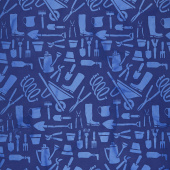 Garden Party Batiks - Garden Tools Blueberry Yardage