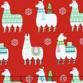 Llama Navidad - Llama Navidad Red Yardage