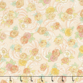 Alphonse Mucha - Flowers Peach Digitally Printed Yardage