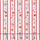 Butterflies and Berries - Butterflies Stripe White Yardage
