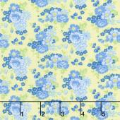 Amorette - Roses Yellow/Blue Yardage