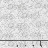 My Sunflower Garden - Outlined Sunflower White Yardage